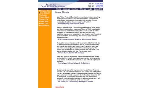 Screenshot of Testimonials Page jpfs.ie - Joe Pitcher Financial Services :: Testimonials Page - captured Feb. 11, 2016
