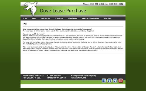 Screenshot of FAQ Page doveleasepurchase.com - FAQ «  Lease Purchase Rent To Own Alternative Creative Seller Carry Financing - captured Oct. 5, 2014