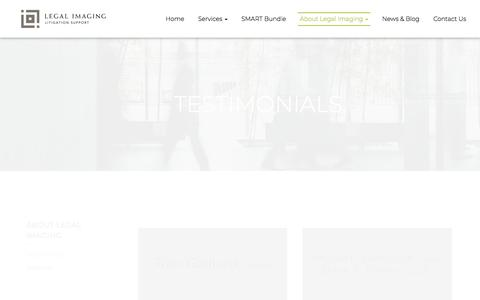 Screenshot of Testimonials Page legal-imaging.net - Testimonials - Mobile, Prichard, Chickasaw   LEGAL IMAGING, LLC - captured Sept. 25, 2018