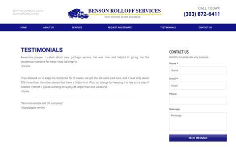 Screenshot of Testimonials Page bensonrolloff.com - Testimonials | Denver Rolloff Services - captured Oct. 5, 2018
