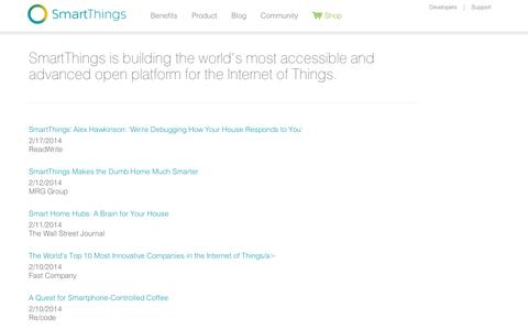 Screenshot of Press Page smartthings.com - News | SmartThings - captured Sept. 12, 2014