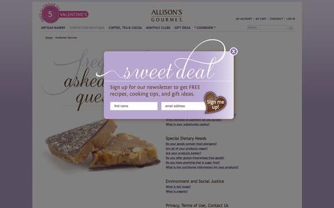 Screenshot of FAQ Page allisonsgourmet.com - Customer Service - captured Feb. 5, 2016