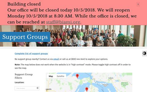 Screenshot of Support Page biami.org - Support Groups - Brain Injury Association of MI - captured Oct. 6, 2018