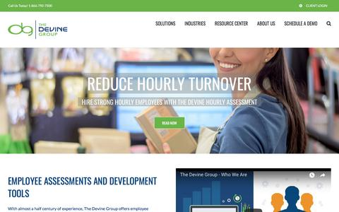 Screenshot of Home Page devinegroup.com - The Devine Group - Employee Assessments & Talent Analytic Tools - captured July 11, 2018