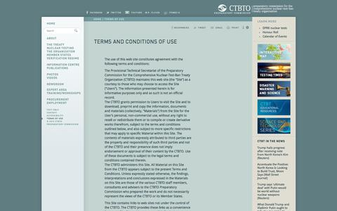 Screenshot of Terms Page ctbto.org - Terms and Conditions of Use: CTBTO Preparatory Commission - captured July 15, 2018