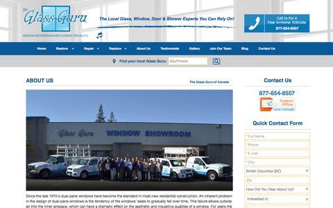 Screenshot of About Page theglassguru.com - Local Window Replacement - Canada  | About Us | The Glass Guru - captured Dec. 16, 2016