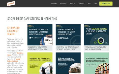 Screenshot of Case Studies Page sysomos.com - Social Media Marketing Case Studies | Sysomos - captured July 3, 2016
