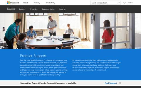 Screenshot of Support Page microsoft.com - Premier Support - Microsoft Enterprise Services - captured April 7, 2017