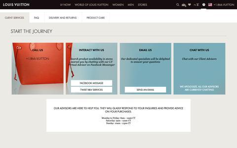 Screenshot of Contact Page louisvuitton.com - Contact Louis Vuitton Client Services | LOUIS VUITTON ® - captured Nov. 8, 2018