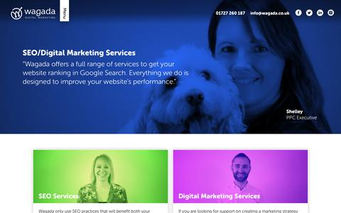 Screenshot of Services Page wagada.co.uk - SEO And Digital Marketing Services | Wagada - captured Oct. 20, 2018