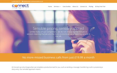 Screenshot of Pricing Page connect-communications.co.uk - Pricing of our call answering service | Virtual receptionist cost - captured Nov. 10, 2016