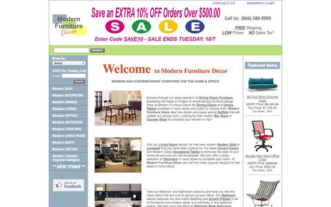 Screenshot of Home Page modernfurnituredecor.com - Modern Furniture Decor  |  Bar Stools | Lighting | Office Chairs & More - captured Oct. 7, 2014
