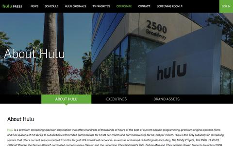 Screenshot of About Page hulu.com - About Hulu – Hulu Press Site - captured March 24, 2017