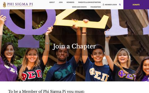 Screenshot of Signup Page phisigmapi.org - Join a Chapter | Phi Sigma Pi National Honor Fraternity - captured July 30, 2017