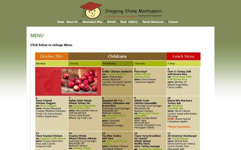 Screenshot of Menu Page steppingstonemontessori.com - menu | - captured Oct. 7, 2014