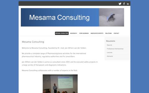 Screenshot of Home Page mesama-consulting.com - Mesama Consulting | a complete range of Pharmacovigilance - captured Oct. 1, 2014