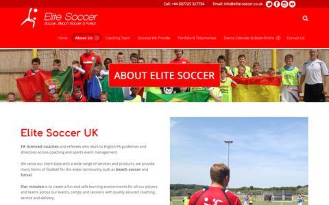 Screenshot of About Page elite-soccer.co.uk - About – Elite Soccer - captured Nov. 10, 2018