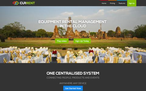Screenshot of Home Page current-rms.com - Current RMS | Cloud Equipment Rental Software - captured Sept. 30, 2014