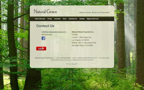 Screenshot of Contact Page naturalgracefunerals.com - Contact Us | Natural Grace - captured Oct. 27, 2014