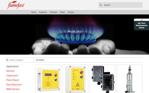 Screenshot of Products Page flamefast-gas-safety.co.uk - Flamefast Gas Safety - captured Oct. 24, 2018