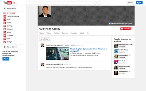 Screenshot of YouTube Page youtube.com - Culbertson Agency  - YouTube - captured Oct. 22, 2014
