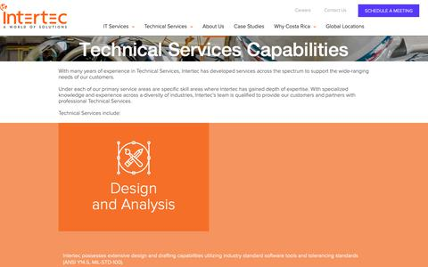 Screenshot of Services Page intertecintl.com - Technical services across the spectrum to support customer needs | Intertec International - captured Oct. 12, 2018