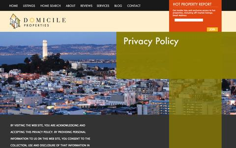 Screenshot of Privacy Page domicileproperties.com - Privacy Policy «  Domicile Properties - captured Sept. 30, 2014