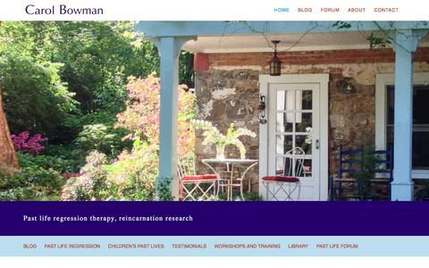 Screenshot of Home Page carolbowman.com - Past Life Regression Therapy and Children's Past Lives - Carol Bowman Past Lives - captured June 13, 2016