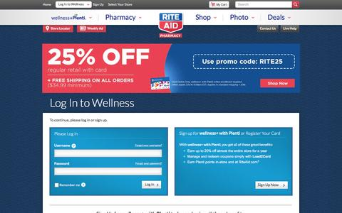 Screenshot of Login Page riteaid.com - Log In or Register - captured March 5, 2016