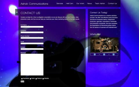 Screenshot of Contact Page tvashok.net - Contact Us - captured Oct. 4, 2014