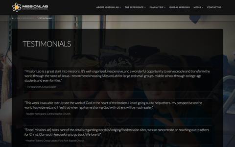 Screenshot of Testimonials Page missionlab.com - Testimonials | Missionlab - captured Feb. 27, 2016
