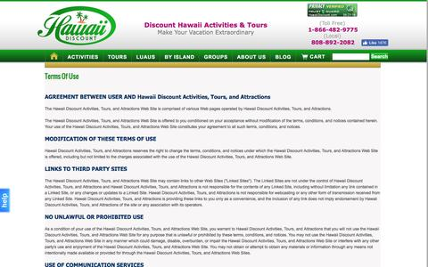 Screenshot of Terms Page hawaiidiscount.com - Hawaii Tours, Hawaii Discount Activities and Attractions - captured Sept. 22, 2016