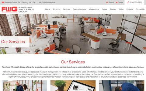 Screenshot of Services Page furniturewholesalegroup.com - Workspace Design, Space Planning, Installation | Furniture Wholesale Group - captured Feb. 3, 2019