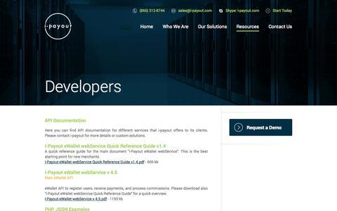 Screenshot of Developers Page i-payout.com - I-Payout - captured Nov. 4, 2014