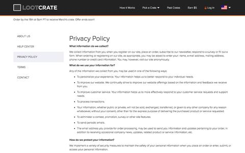 Screenshot of Privacy Page lootcrate.com - Privacy Policy - captured March 5, 2016