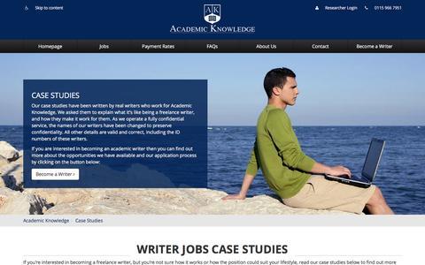 Screenshot of Case Studies Page academicknowledge.com - Writer Jobs Case Studies | Academic Knowledge - captured July 24, 2016