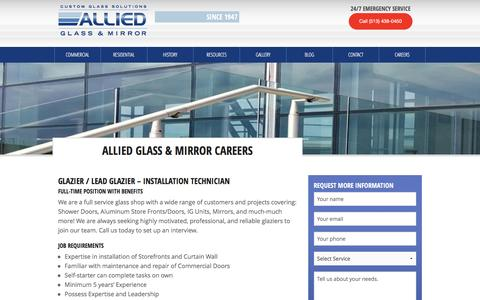 Screenshot of Jobs Page alliedglassandmirror.com - Allied Glass and Mirror | Careers - captured Feb. 5, 2016