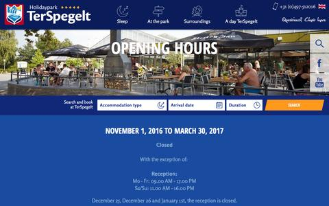 Screenshot of Hours Page terspegelt.nl - Opening hours - TerSpegelt - captured Nov. 29, 2016