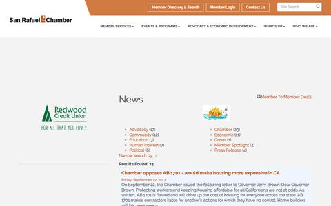 Screenshot of Press Page srchamber.com - News - San Rafael Chamber of Commerce, CA - captured Oct. 4, 2017
