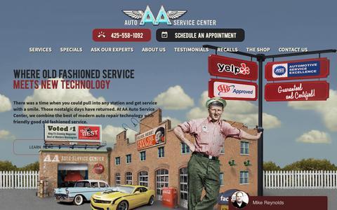 Screenshot of Home Page aaautoservicecenter.com - Redmond Car & Auto Repair Servicing - AA Auto Service Center - captured Jan. 20, 2019