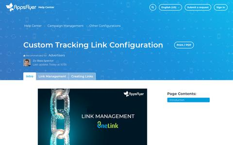 Screenshot of Support Page appsflyer.com - Custom Tracking Link Configuration – Help Center - captured Feb. 4, 2019
