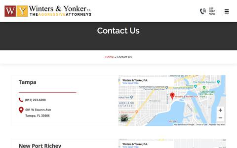 Screenshot of Contact Page wintersandyonker.com - Contact Us | Winters & Yonker | Call Us Today For a Free Case Review - captured Oct. 13, 2019