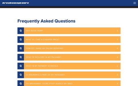 Screenshot of FAQ Page breakawaytours.com - Breakaway Tours - High School Trips For Friends - captured June 3, 2017