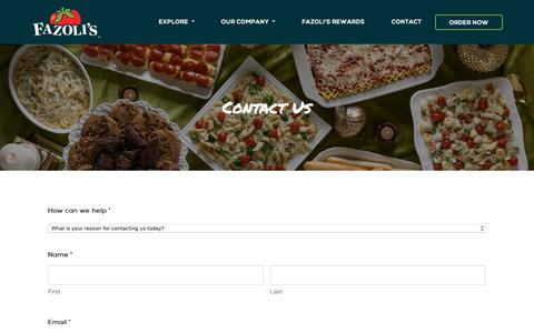 Screenshot of Contact Page fazolis.com - Contact Us - Let Us Hear From You | Fazoli's - Fazolis - captured Dec. 19, 2018