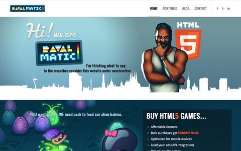 Screenshot of Home Page ravalmatic.com - RAVALMATIC game studio - HTML5 games experts - captured Dec. 5, 2016