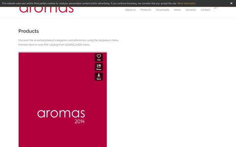 Screenshot of Products Page aromasdelcampo.com - Products | Aromas del Campo - captured Oct. 4, 2014