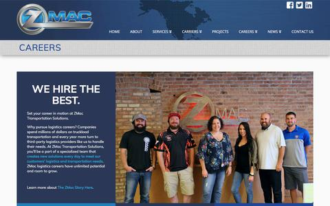 Screenshot of Jobs Page zmactransport.com - Logistics Careers: Sales, Account Executives, and more - ZMac Transport - captured July 20, 2019