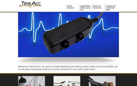Screenshot of Home Page tensacc.com - Minnesota Custom Molded Cable Assemblies and Connectors    Tens Accessories Inc. MN - captured Oct. 20, 2018