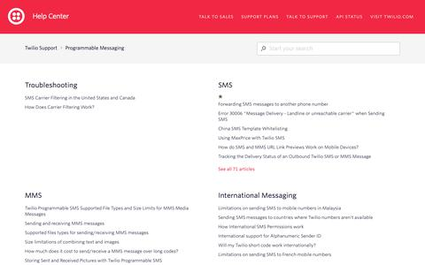 Screenshot of Support Page twilio.com - Programmable Messaging – Twilio Support - captured June 13, 2019