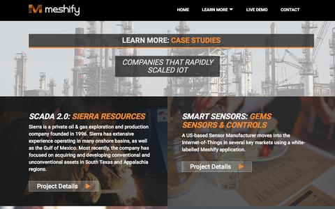 Screenshot of Case Studies Page meshify.com - Meshify |   Case Studies - captured Dec. 4, 2015